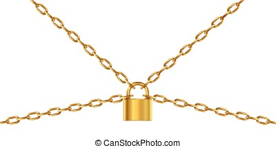 Golden chain and padlock