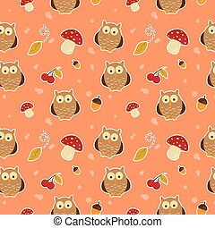 pattern with owls - Bright background with owls, leafs,...