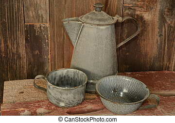 Coffee pot cups - Old metal coffee pot with metal cups