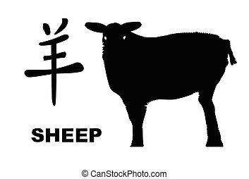 Chinese Year Of The Sheep - The Chinese logogram and rat...