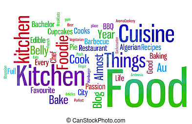 food words white - large group of scattered brightly colored...