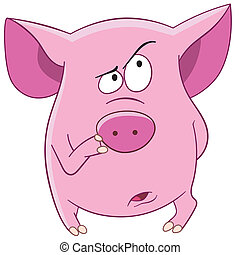 pink pig is thinking