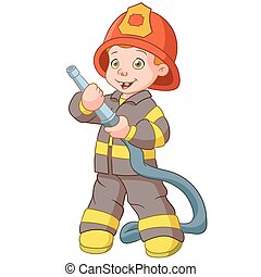 smiling fireman - smiling firefighter with a hose