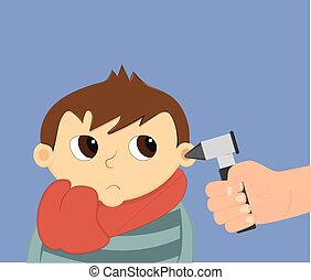 Otoscopy vector illustration - Child ear check illustration