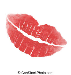 lipstick lips - red lipstick lips with faded edges and a...
