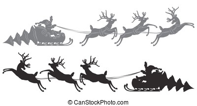 Flying Santa Claus in a reindeer sleigh