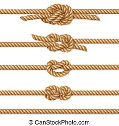 Yellow twisted rope border set, isolated on white, vector...