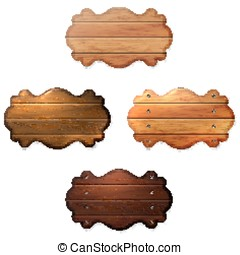 Set of wooden signboard from boards