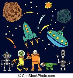 Space background. The various space objects.