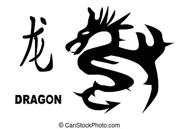 Chinese Year Of The Dragon - The Chinese logogram and rat...