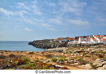 Portuguese destination, Peniche - Houses on the cliff in...