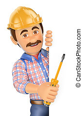3D Electrician with a screwdriver pointing aside. Blank...