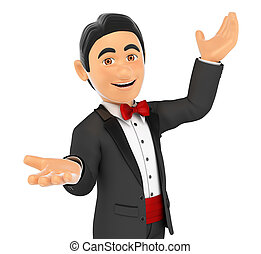 3D Tuxedo man presenting something with their hands up - 3d...