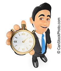 3D Businessman with a gold stopwatch. Time is money