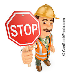 3D Construction worker with a stop signal - 3d working...