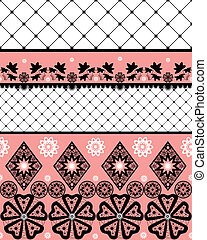 White seamless lace pattern with fishnet on white background