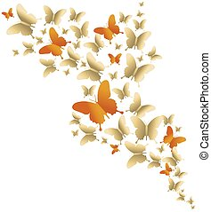Cute gold colorful butterfly spring illustration