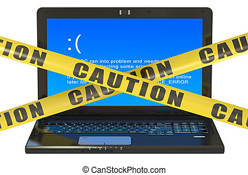 Laptop with blue error screen isolated on the white...
