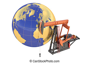 Pumpjack with globe isolated on the white background