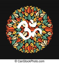 Mandala made of leaves with om sign - Tree leaves making...