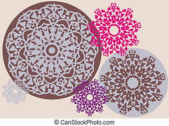 kaleidoscopic floral pattern - floral decoration, vector...