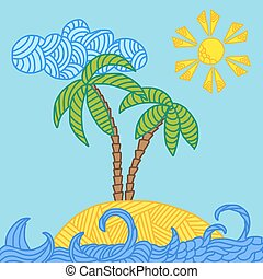 Tropical island with palms and waves