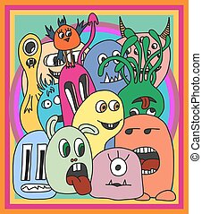 Funny cartoon monsters card in bright colours