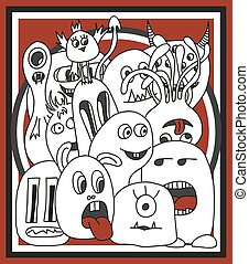 Funny cartoon monsters card in white and black and red...