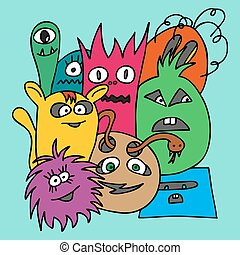 Group of Monsters. Colorful vector illustration in bright...
