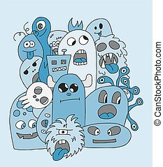 Funny cartoon monsters card in blue colors