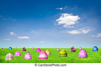 Easter Eggs on grass field under clear blue sky
