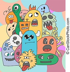 Funny cartoon monsters card in bright colors