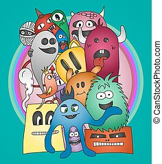 Monsters. Vector illustration - Group of Monsters. Colorful...