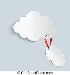 cloud with a price tag - white cloud with a price tag on a...