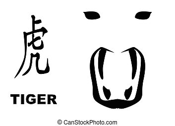 Chinese Year Of The Tiger - The Chinese logogram and rat...