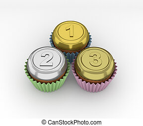 Cupcakes set - medals on a white background. 3d render.