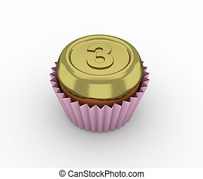 Cupcakes - a bronze medal on a white background. 3d render.