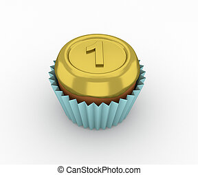 Cupcakes - a gold medal on a white background 3d render