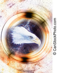 eagle in cosmic space and light circle. original painting collage.  Animal concept, Profile portrait. Sepia color.
