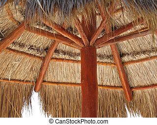 Palapa - Upside view of palapa on the carribean beach