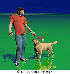 best friend - digitally rendered illustration of a man and...