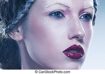 Beauty art portrait of young woman - High fashion portrait...