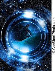 Horse in space, in circle light Mirror on the planet Earth...