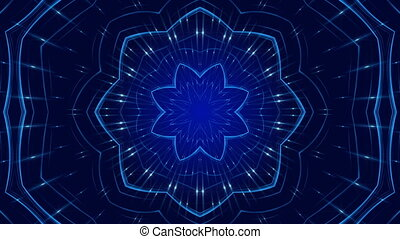 blue abstract background, kaleidoscope light, loop