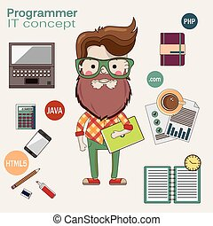Programmer with a laptop and beard in glasses - Programmer...