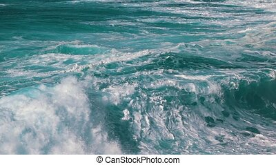 Ocean Waves Breaking on Shore, slow motion