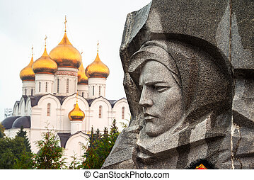 War memorial in Yaroslavl, Russia with Uspensky Cathedral at...