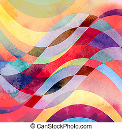 abstract waves colorful background - watercolor vintage...