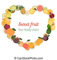 Heart with different fruit icons. - Heart with different...