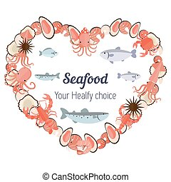 Heart with different seafood icons - Vector set illustration...